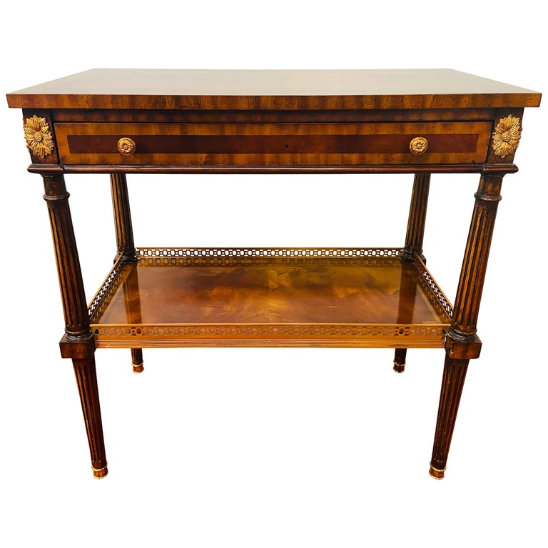 Regency Maitland Smith Brass Inlay on Mahogany Table with Side Extensions For Sale