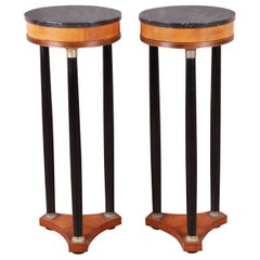 Regency Marble-Top Pedestal Plant Stands, Pair
