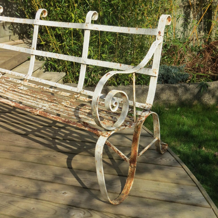 Regency Metal White Painted Garden Bench, 19th Century 1820s For Sale 5