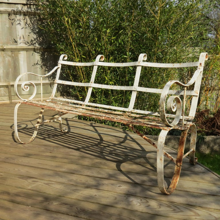 Regency Metal White Painted Garden Bench, 19th Century 1820s For Sale 7