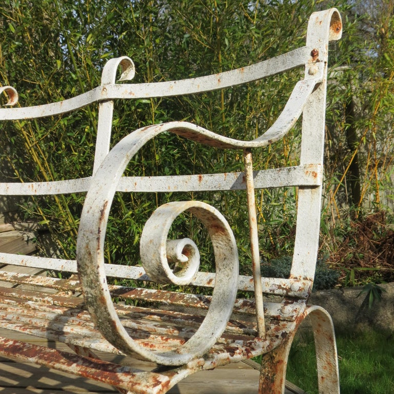 Regency Metal White Painted Garden Bench, 19th Century 1820s For Sale 1