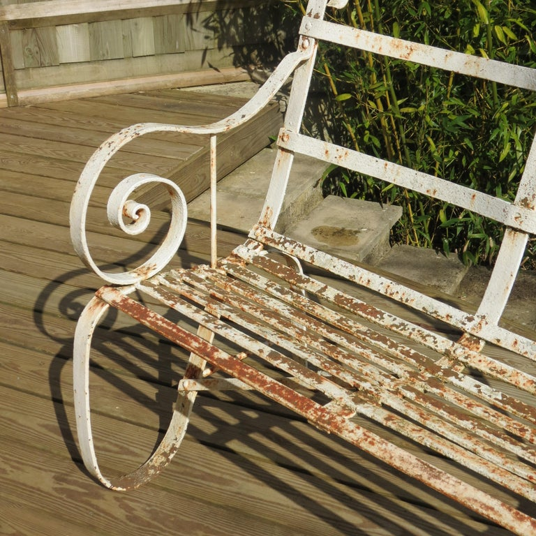 Regency Metal White Painted Garden Bench, 19th Century 1820s For Sale 3