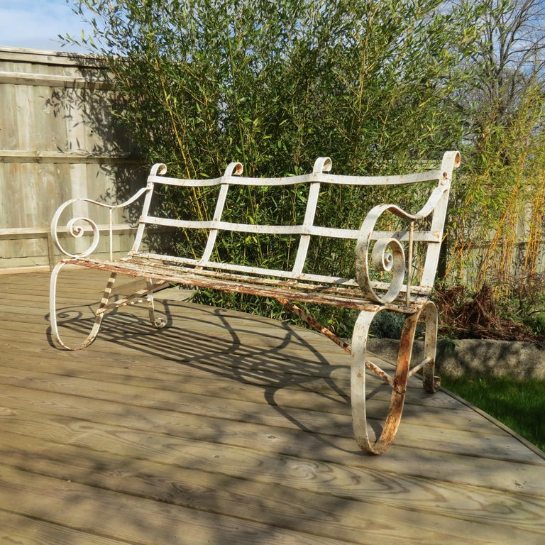 Regency Metal White Painted Garden Bench, 19th Century 1820s For Sale 4