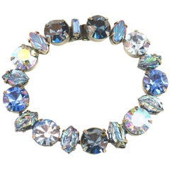 Regency Mid-Century Sapphire Crystal & Art Glass Bracelet, 1950s
