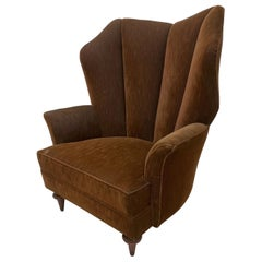 Regency Modern High Wingback Arm Chair in Mohair by Arturo Pani, Mexico, 1940s