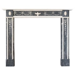 Regency Neoclassical Inlaid Dove Grey and Statuary Marble Fireplace