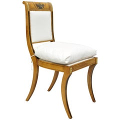 Regency Neoclassical Style Saber Klismos Leg Accent Side Desk Chair Pillow Seat