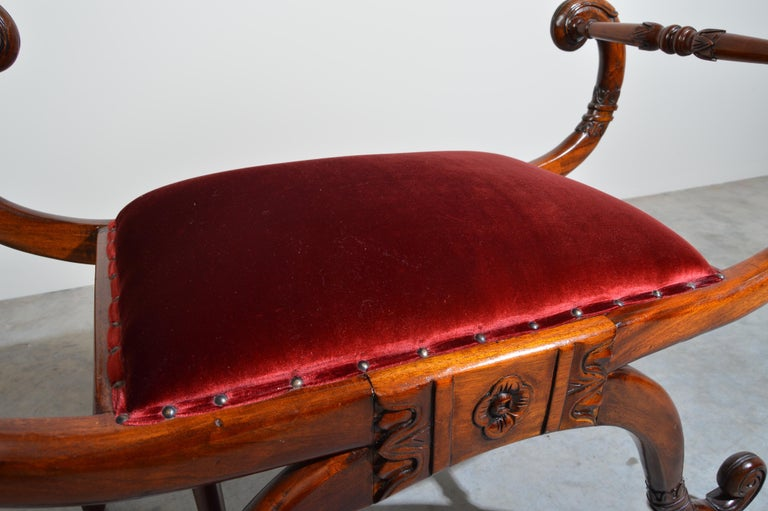 American Regency Neoclassical Style Scrolled Arm Bench or Chair For Sale