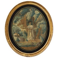 Regency Oval Silk Embroidery of a Shepherdess