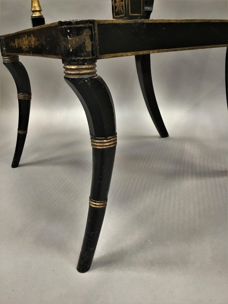 Regency Painted and Parcel Gilt Elbow Chair For Sale 6