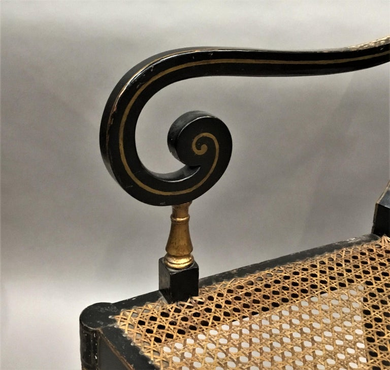 Regency Painted and Parcel Gilt Elbow Chair For Sale 7
