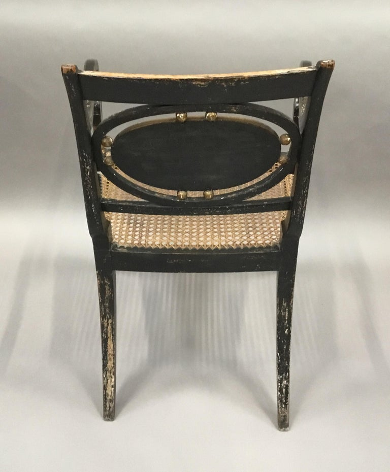 Regency Painted and Parcel Gilt Elbow Chair For Sale 8