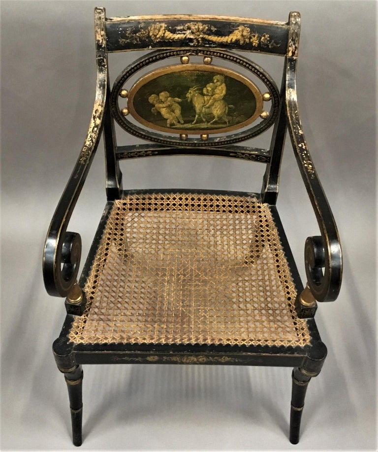 English Regency Painted and Parcel Gilt Elbow Chair For Sale