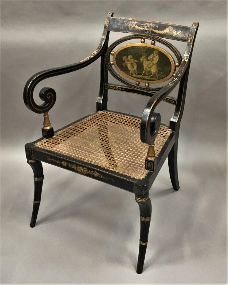 Regency Painted and Parcel Gilt Elbow Chair In Good Condition For Sale In Moreton-in-Marsh, Gloucestershire