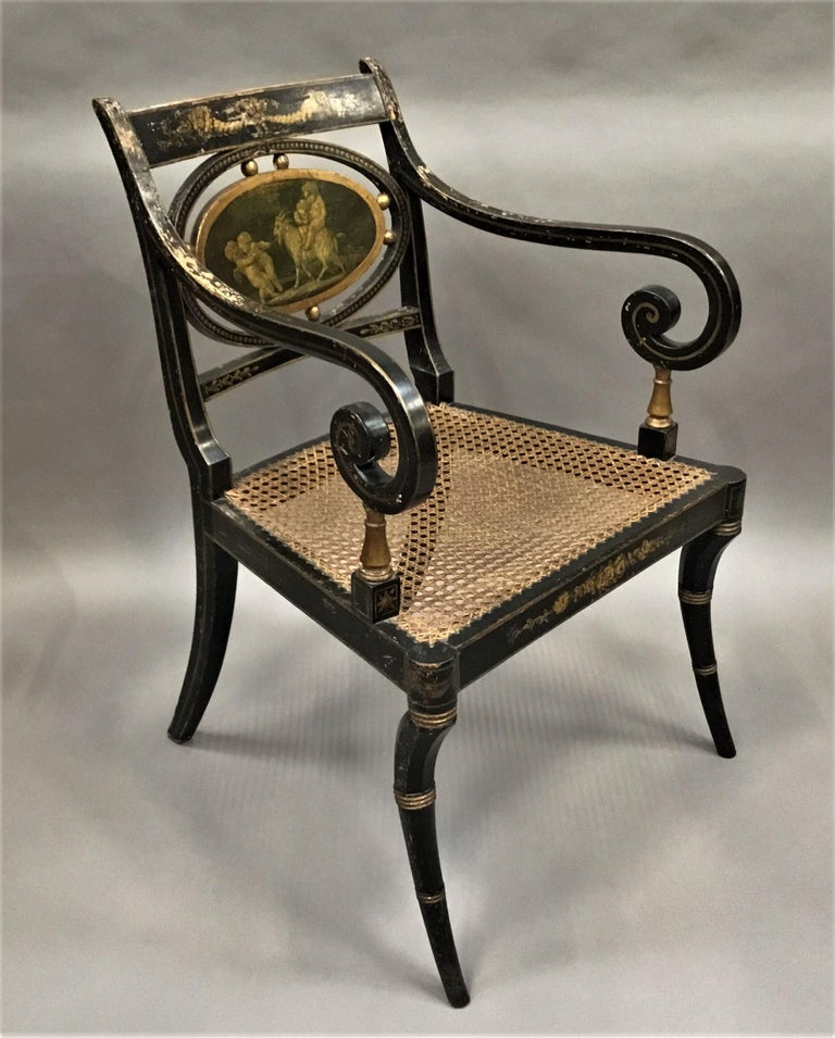 19th Century Regency Painted and Parcel Gilt Elbow Chair For Sale