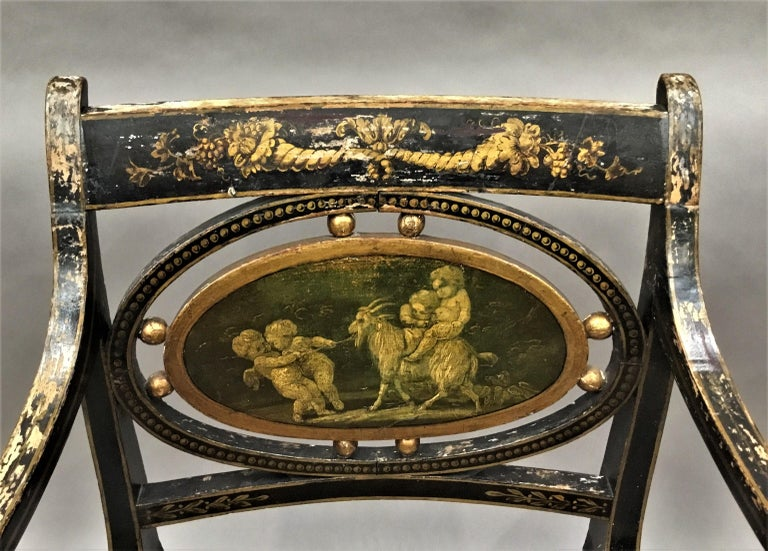 Regency Painted and Parcel Gilt Elbow Chair For Sale 1