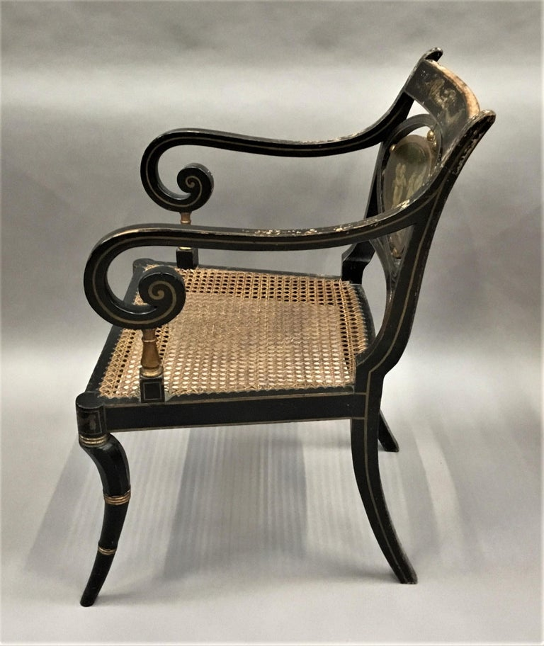 Regency Painted and Parcel Gilt Elbow Chair For Sale 3