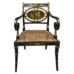 Regency Painted and Parcel Gilt Elbow Chair