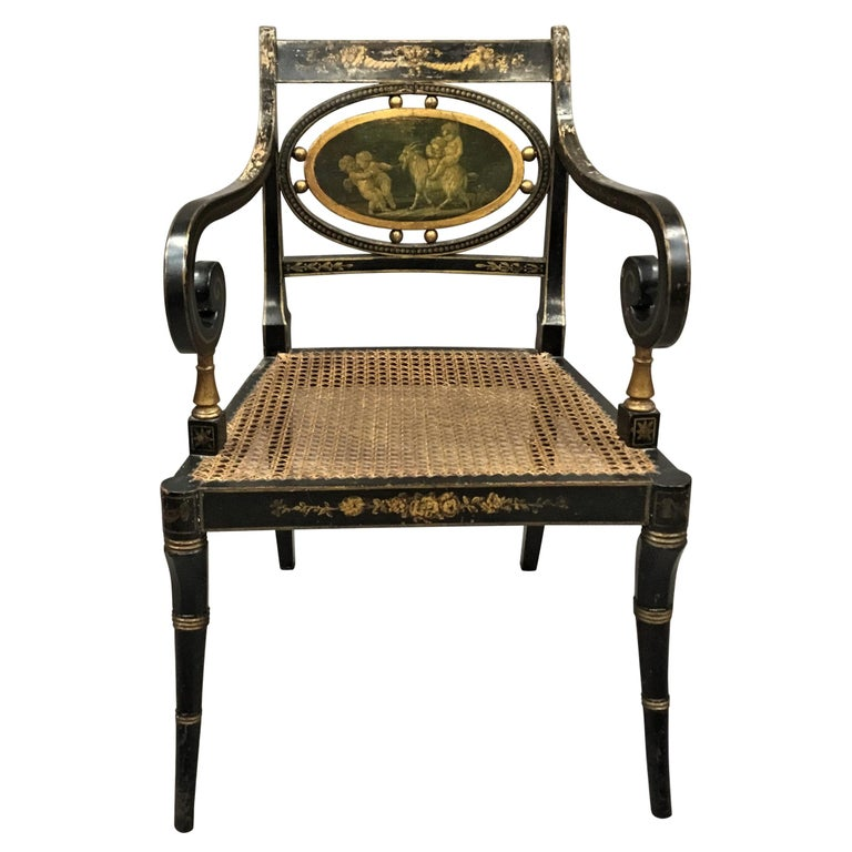 Regency Painted and Parcel Gilt Elbow Chair For Sale