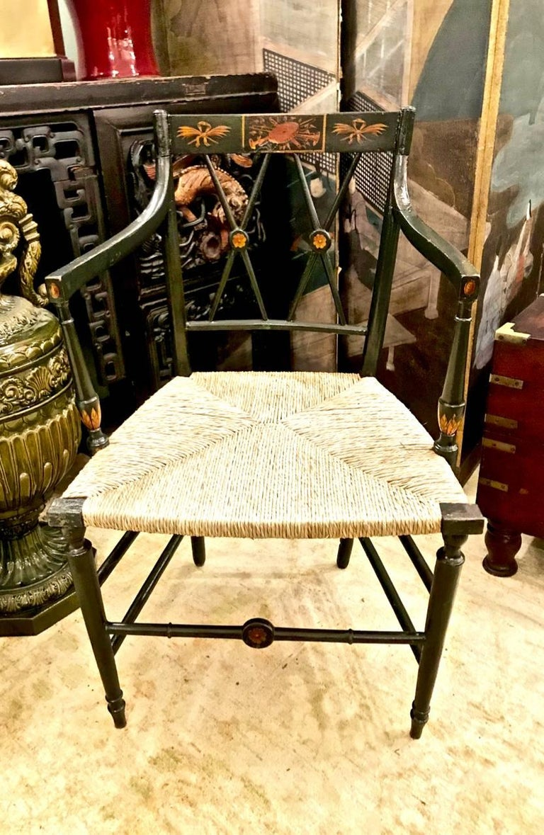 English Regency Painted Arm Chairs, Set of Four For Sale