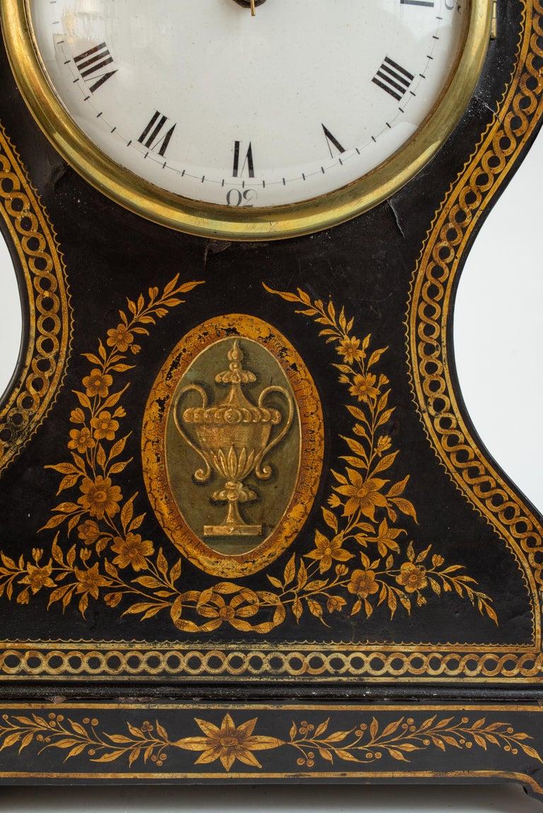 English Regency Painted Papier Mache Mantle Clock For Sale