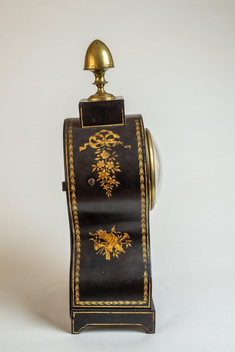 19th Century Regency Painted Papier Mache Mantle Clock For Sale