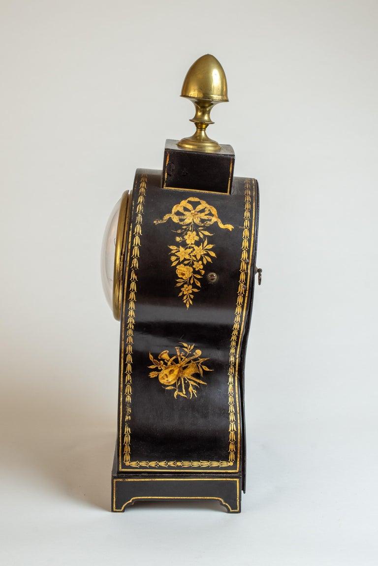Brass Regency Painted Papier Mache Mantle Clock For Sale