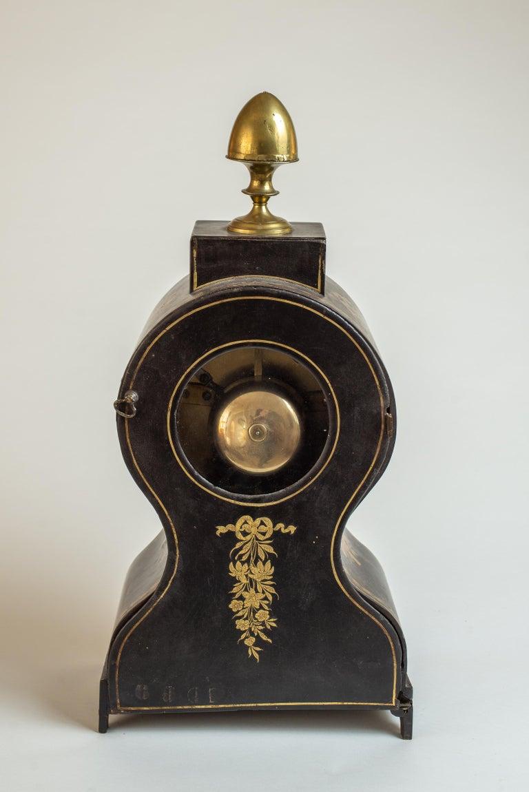 Regency Painted Papier Mache Mantle Clock For Sale 1