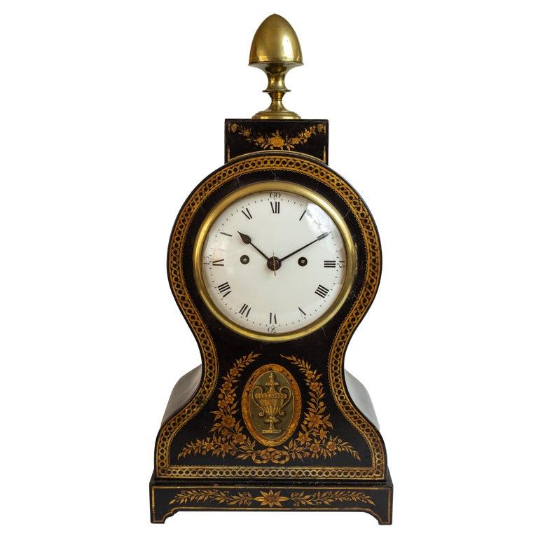 Regency Painted Papier Mache Mantle Clock For Sale