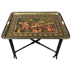 Regency Painted Tole Tray on Stand of Large Proportions