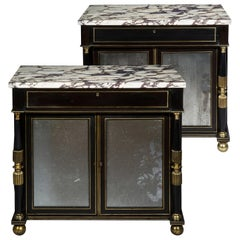 Regency Pair of Black Lacquer Marble Top Pier Cabinets