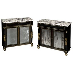Regency Pair of Ebonised Cabinets with Marble Tops and Mirror Doors