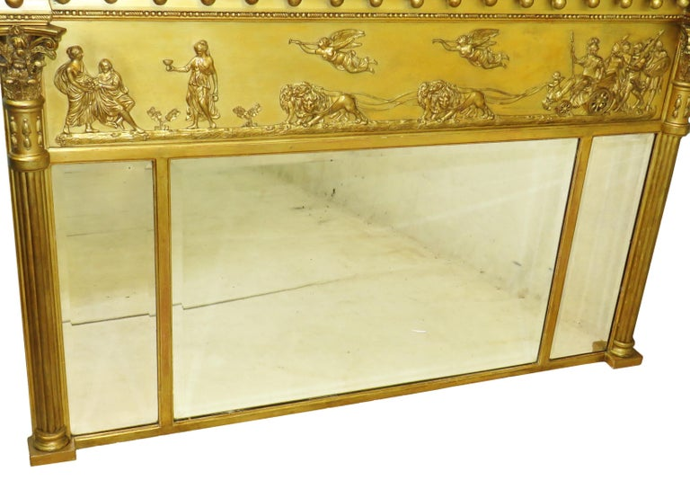 Regency Pair of Giltwood and Gesso English Overmantle Mirrors In Good Condition For Sale In Bedfordshire, GB