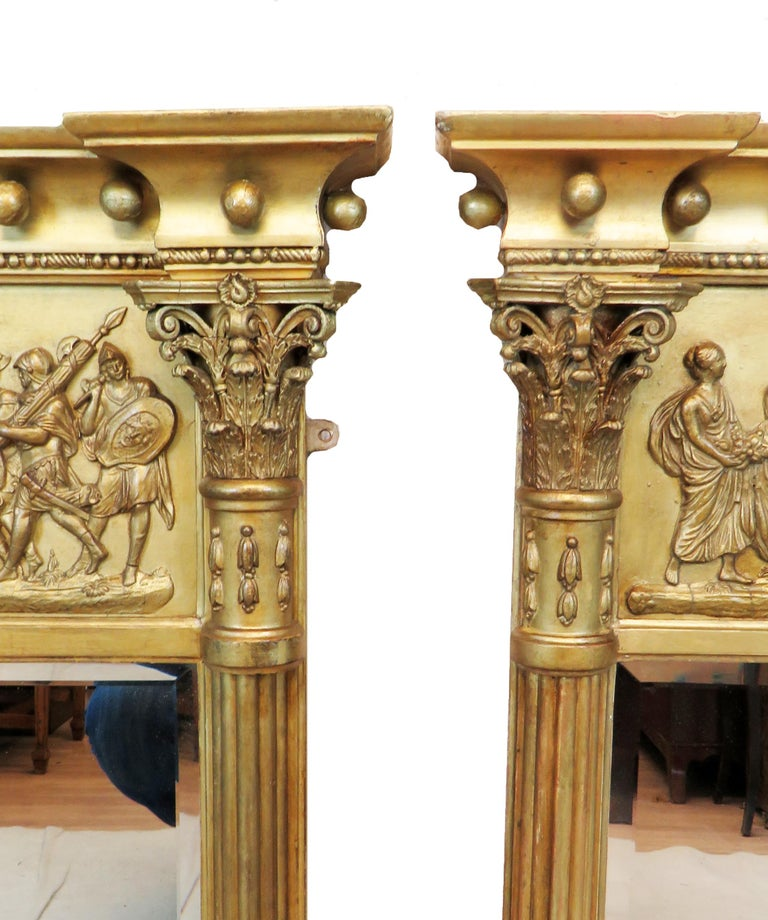 19th Century Regency Pair of Giltwood and Gesso English Overmantle Mirrors For Sale