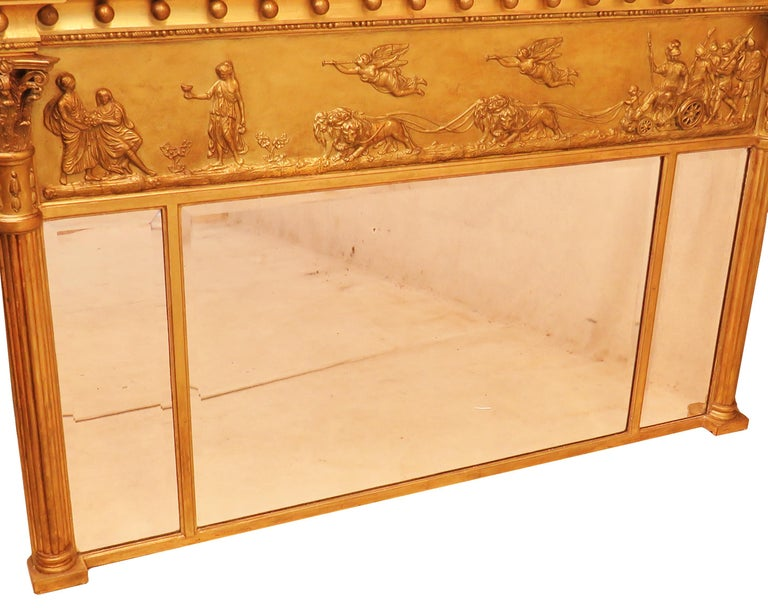 Regency Pair of Giltwood and Gesso English Overmantle Mirrors For Sale 1