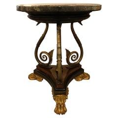 Regency Parcel-Gilt Ebonised Pollard Oak and Brass Centre Table