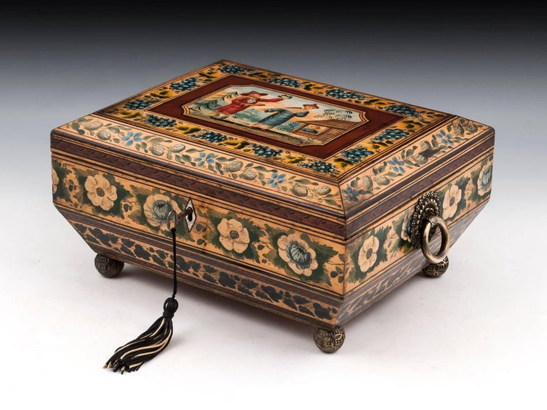 Regency Penwork Sycamore Chinoiserie Sewing Box, 19th Century For Sale 7