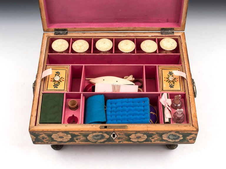 Regency Penwork Sycamore Chinoiserie Sewing Box, 19th Century For Sale 8