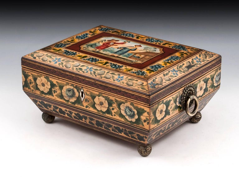British Regency Penwork Sycamore Chinoiserie Sewing Box, 19th Century For Sale
