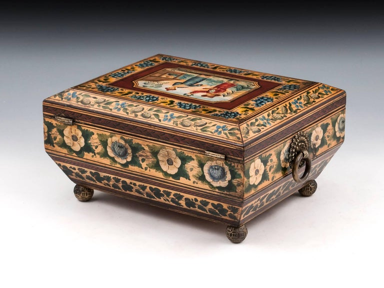 Regency Penwork Sycamore Chinoiserie Sewing Box, 19th Century In Good Condition For Sale In Northampton, United Kingdom