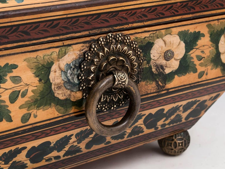 Regency Penwork Sycamore Chinoiserie Sewing Box, 19th Century For Sale 1