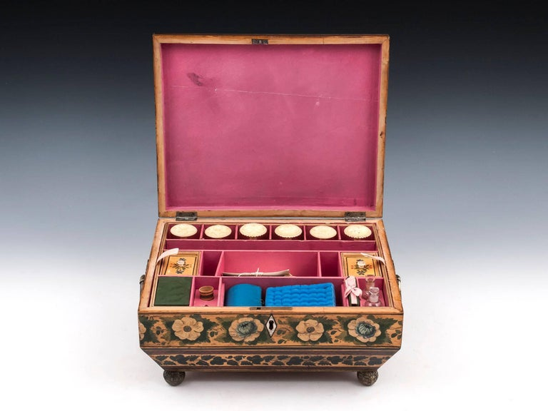 Regency Penwork Sycamore Chinoiserie Sewing Box, 19th Century For Sale 2