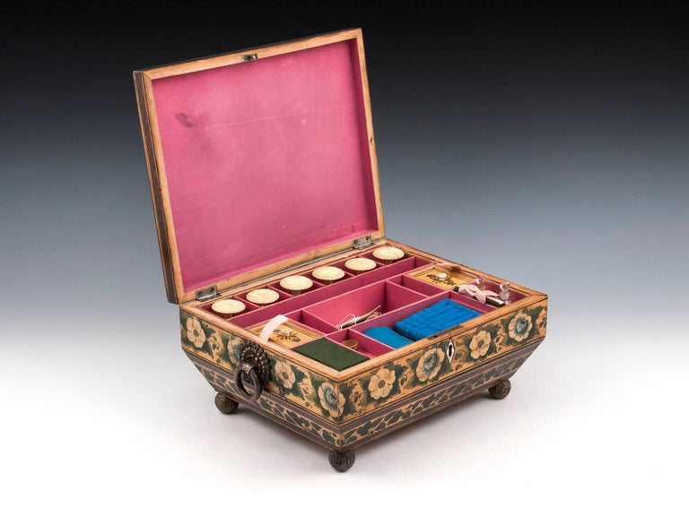 Regency Penwork Sycamore Chinoiserie Sewing Box, 19th Century For Sale 3