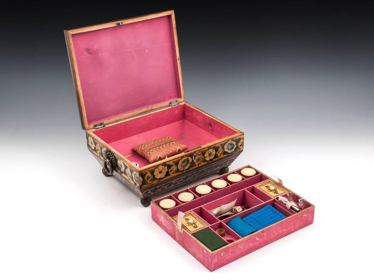 Regency Penwork Sycamore Chinoiserie Sewing Box, 19th Century For Sale 4