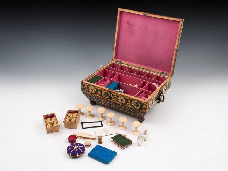 Regency Penwork Sycamore Chinoiserie Sewing Box, 19th Century For Sale 5