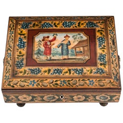 Regency Penwork Sycamore Chinoiserie Sewing Box, 19th Century