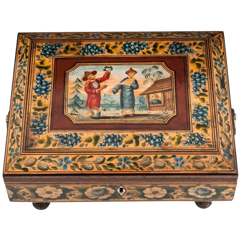 Regency Penwork Sycamore Chinoiserie Sewing Box, 19th Century For Sale