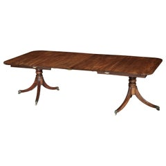 Regency Period Dining Table, Two Pedestal, Early 19th Century, Rectangular Ends