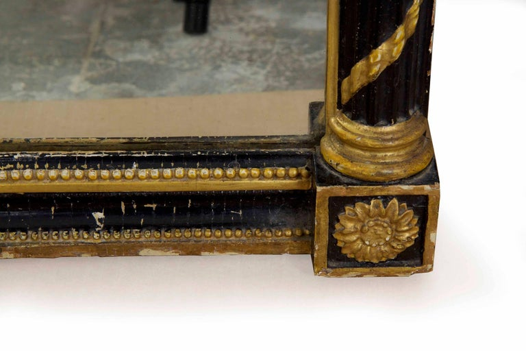 Regency Period Ebonized and Parcel Gilt Pier Mirror circa 1815 For Sale 9