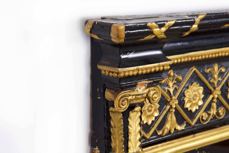 Regency Period Ebonized and Parcel Gilt Pier Mirror circa 1815 For Sale 11